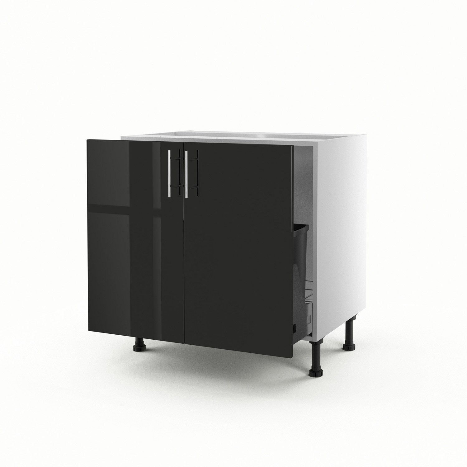 meuble de cuisine sous vier noir 2 portes rio x. Black Bedroom Furniture Sets. Home Design Ideas