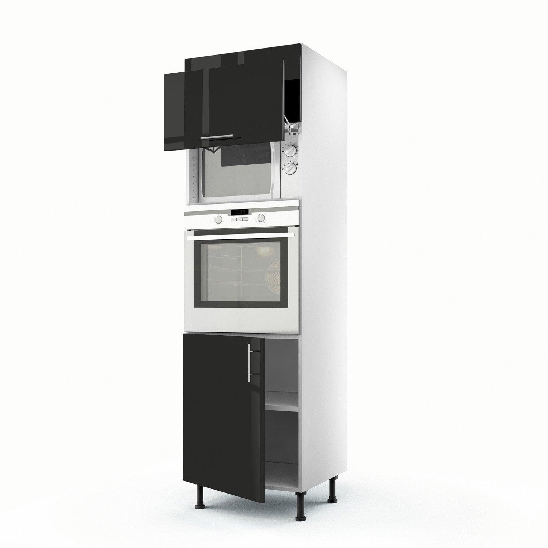 Meuble de cuisine colonne noir 3 portes rio x x for Meuble de cuisine laque noir