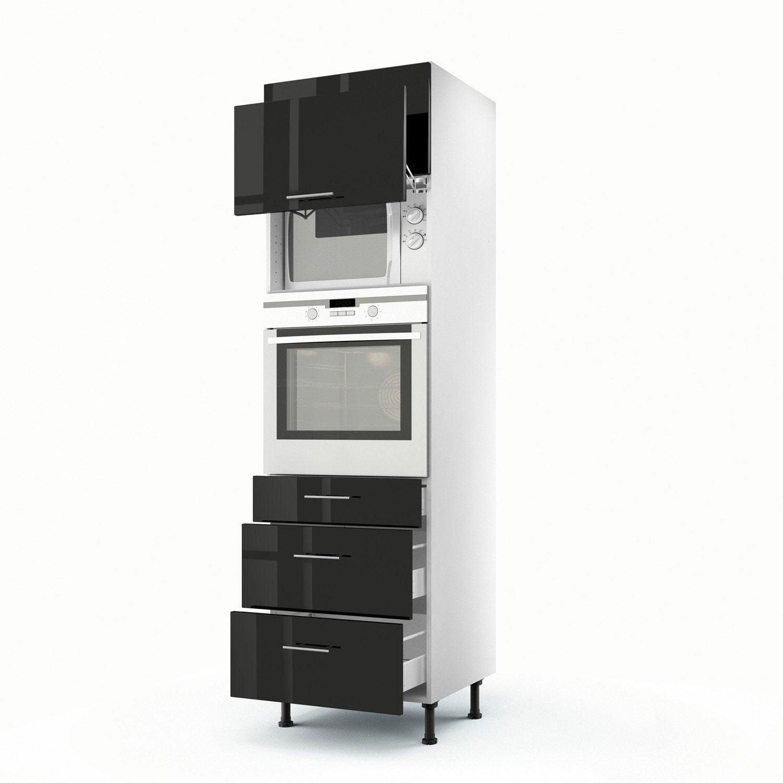 Meuble de cuisine colonne noir 2 portes 3 tiroirs rio h - Meuble colonne cuisine leroy merlin ...