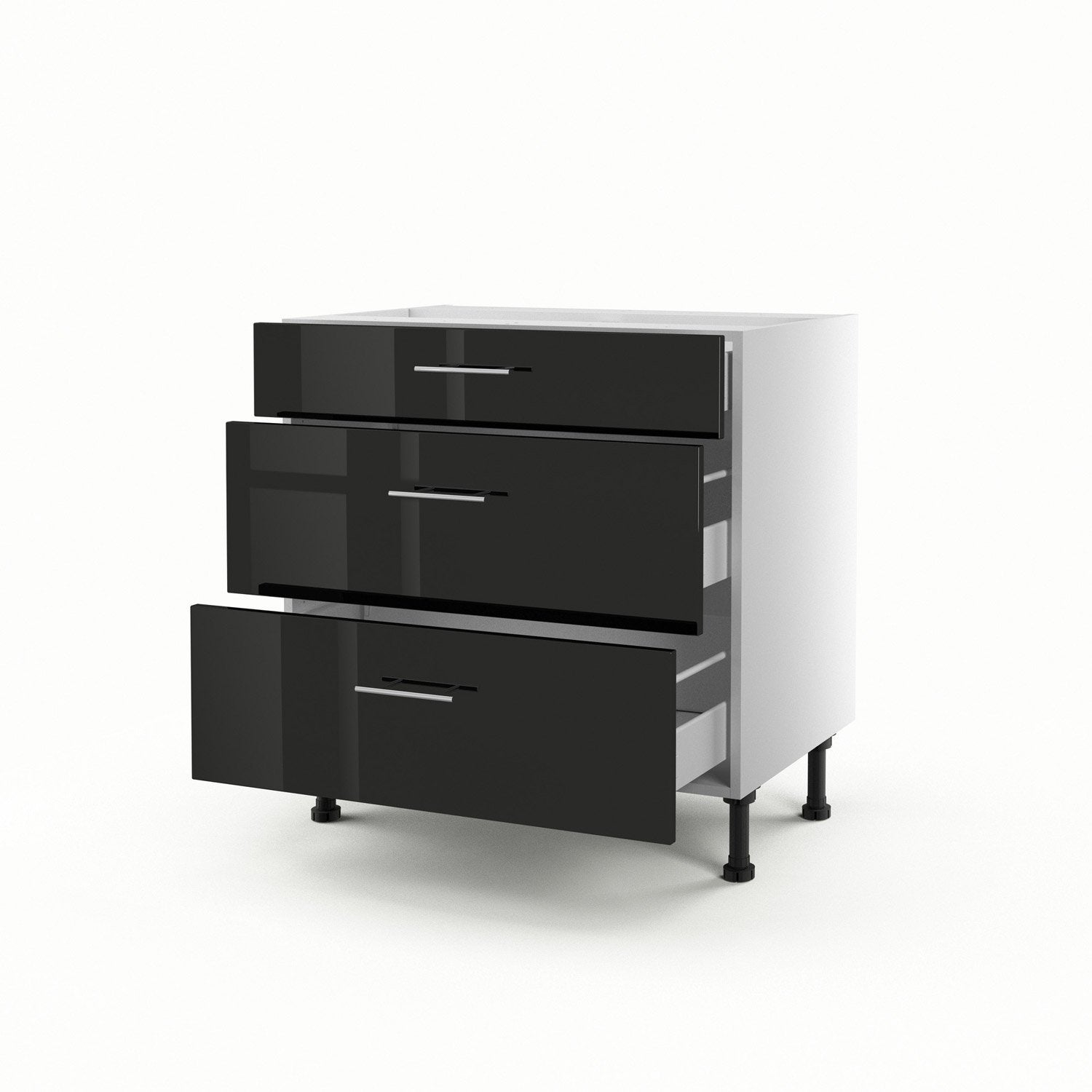 meuble de cuisine bas noir 3 tiroirs rio x x cm leroy merlin. Black Bedroom Furniture Sets. Home Design Ideas