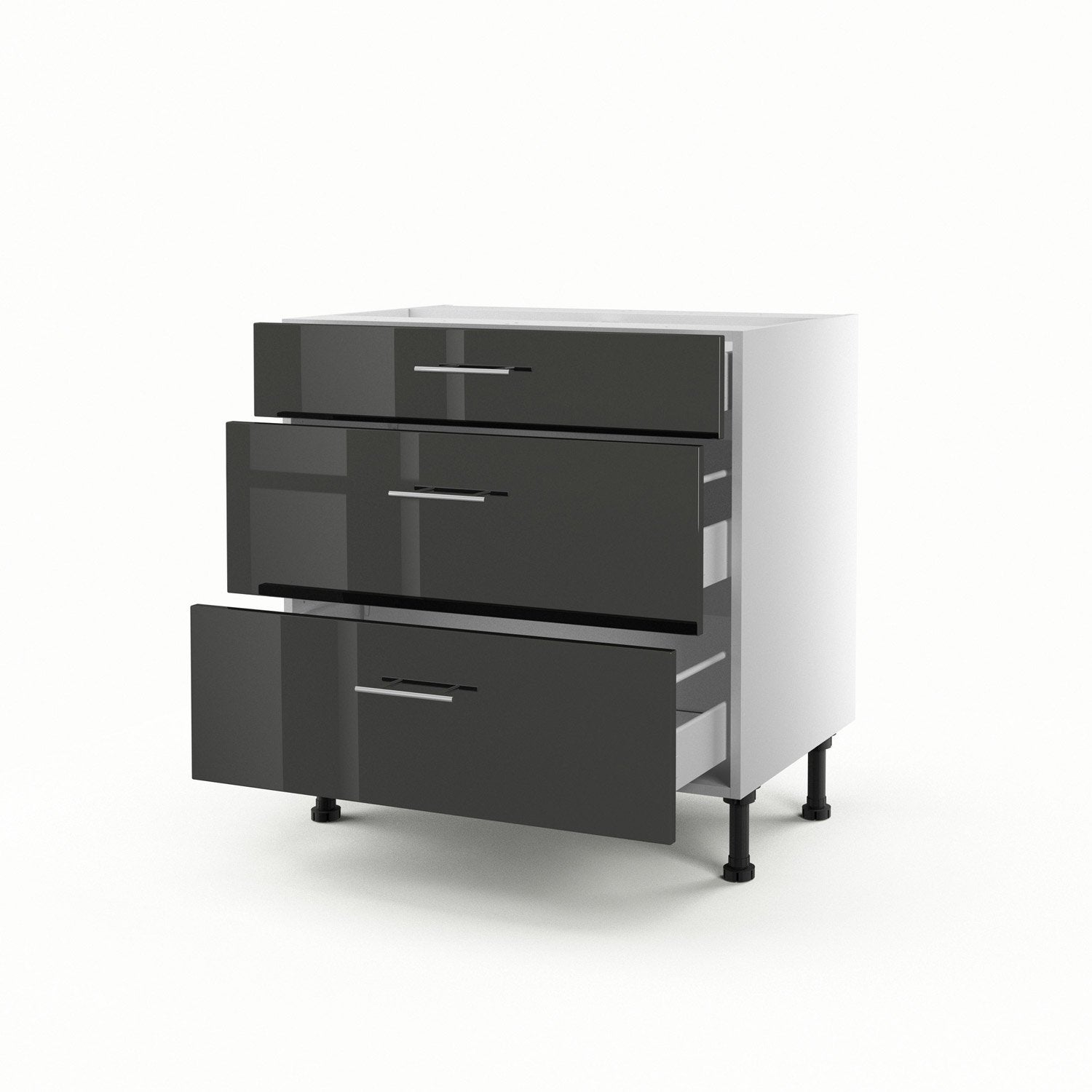 meuble de cuisine bas gris 3 tiroirs rio h70xl80xp56 cm. Black Bedroom Furniture Sets. Home Design Ideas