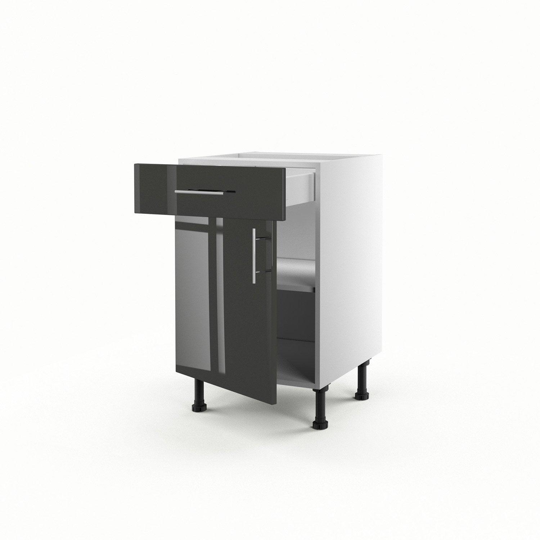 Meuble de cuisine gris delinia rio leroy merlin tiroir for Cuisine meuble gris
