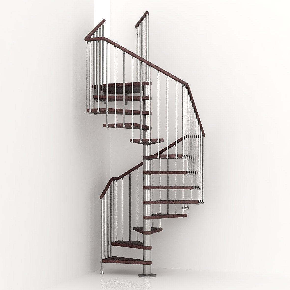 Escalier Bois Leroy Merlin : PIXIMA, colima?on carr? en bois et m?tal, 13 marches Leroy Merlin