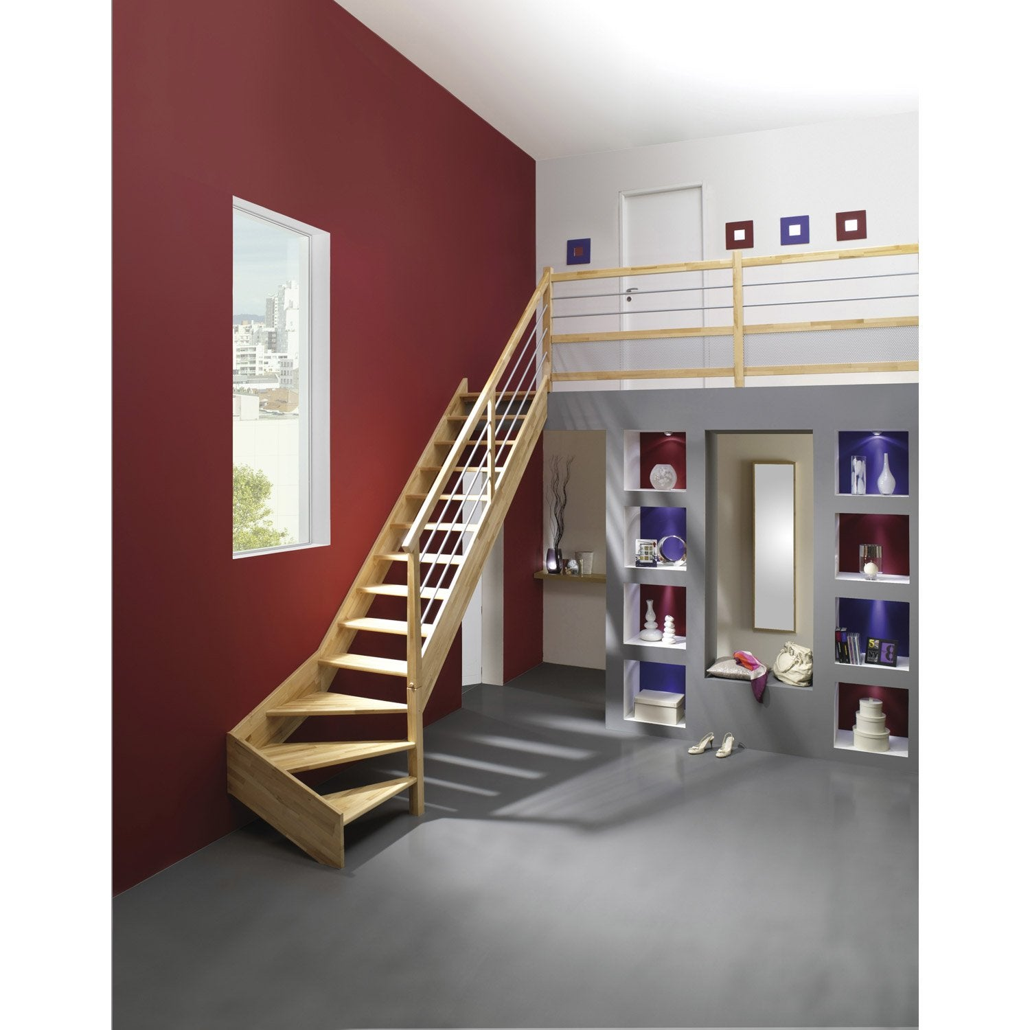 Escalier quart tournant bas droit urban tube structure for Escalier interieur leroy merlin