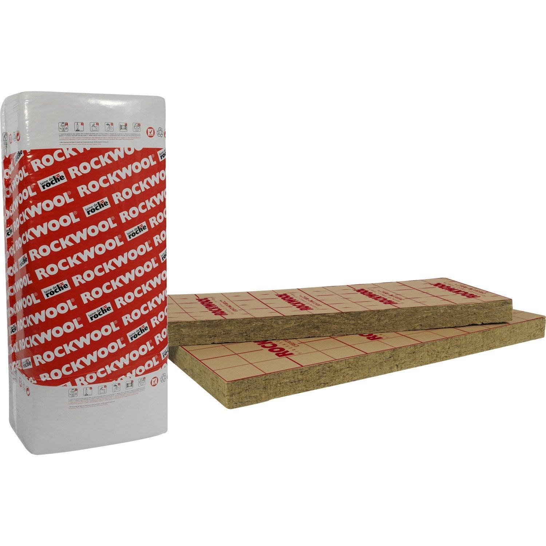 8 panneaux en laine de roche rockmur rockwool for Panneaux acrylique leroy merlin