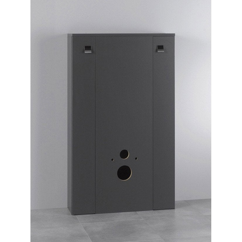 Meuble pour wc suspendu x x cm gris for Meuble de toilette leroy merlin