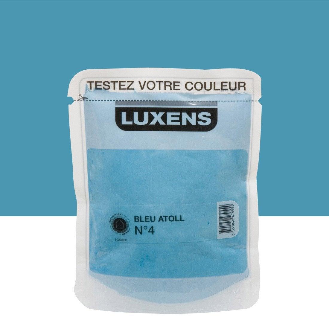 testeur peinture bleu atoll 4 luxens couleurs int rieures satin l leroy merlin. Black Bedroom Furniture Sets. Home Design Ideas