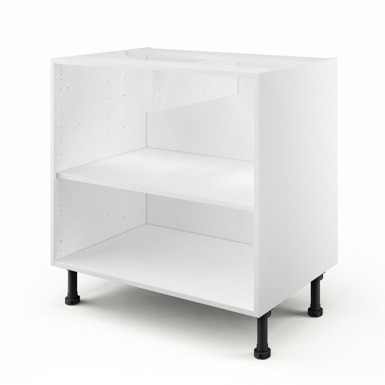 Caisson de cuisine bas b80 delinia blanc x x p for Meuble 95 cm de hauteur