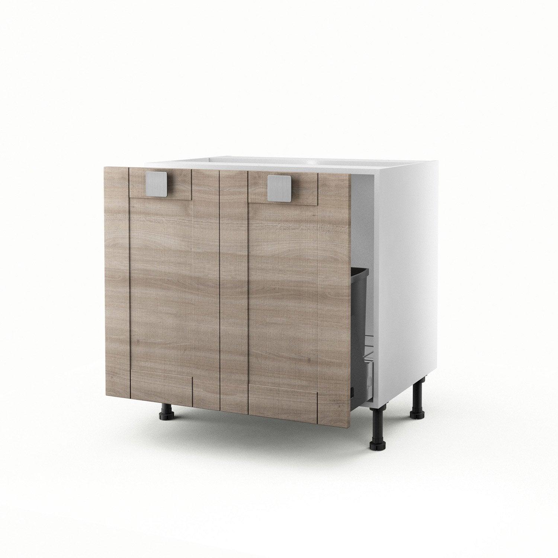 meuble de cuisine sous vier d cor ch ne 2 portes karrey x x cm leroy merlin. Black Bedroom Furniture Sets. Home Design Ideas