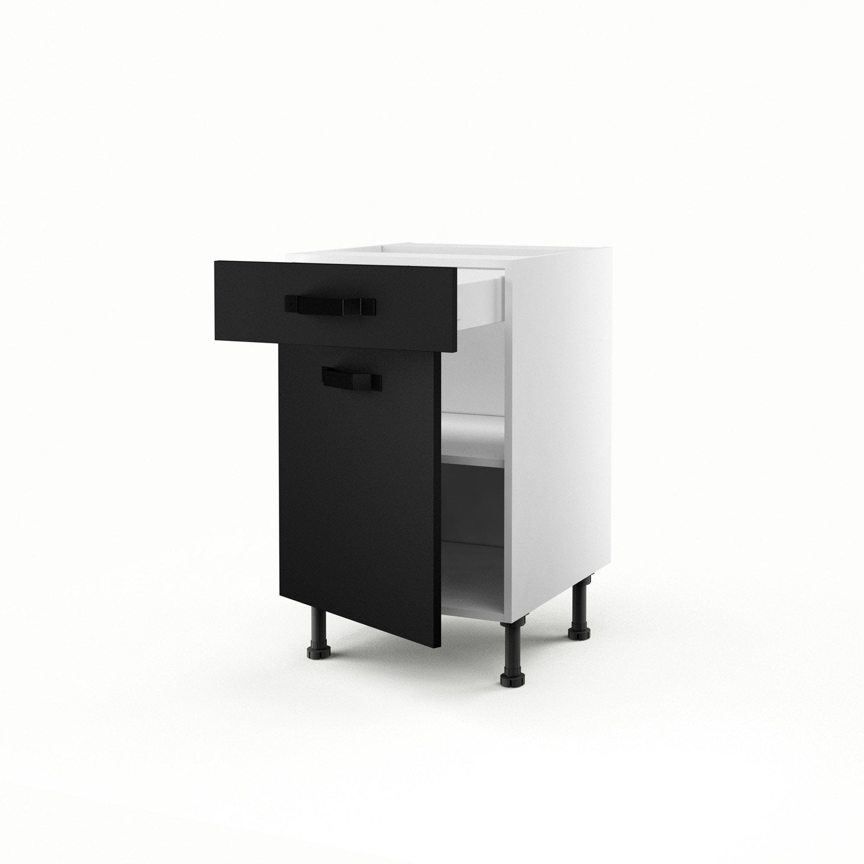 Meuble de cuisine bas noir 1 porte 1 tiroir mat edition h70xl50xp56 cm leroy merlin - Cuisine noire mat leroy merlin ...