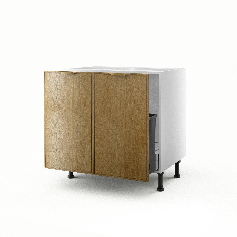 Meuble de cuisine sous vier ch ne 2 portes origine x x cm l - Leroy merlin origine ...