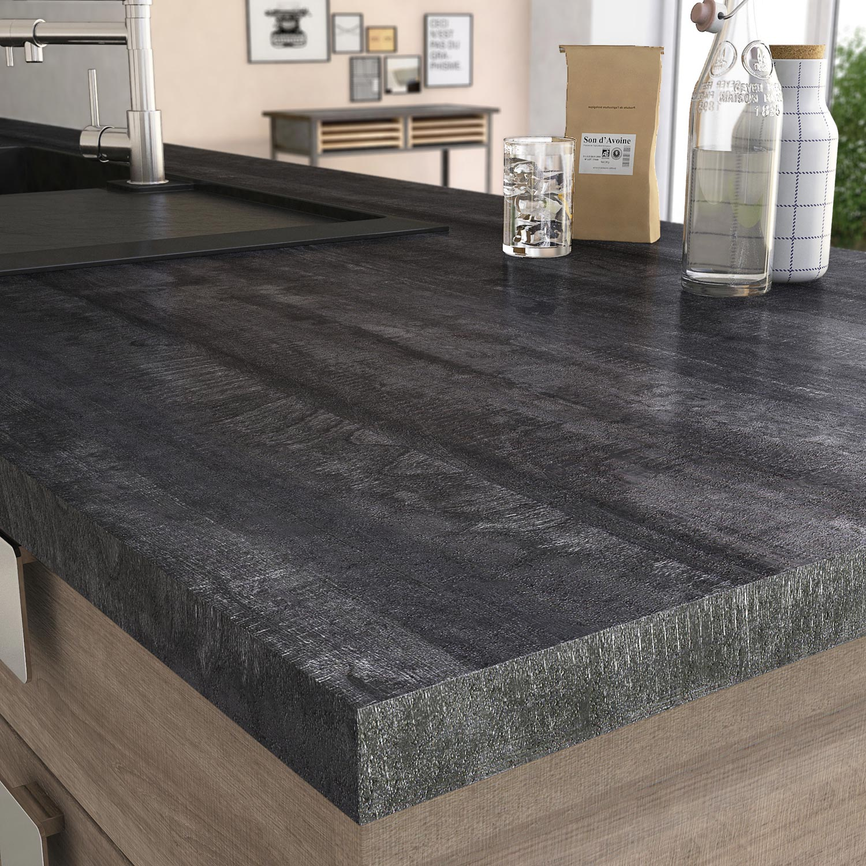Plan de travail stratifi new vintage wood noir mat x cm mm - Coller plan de travail ...