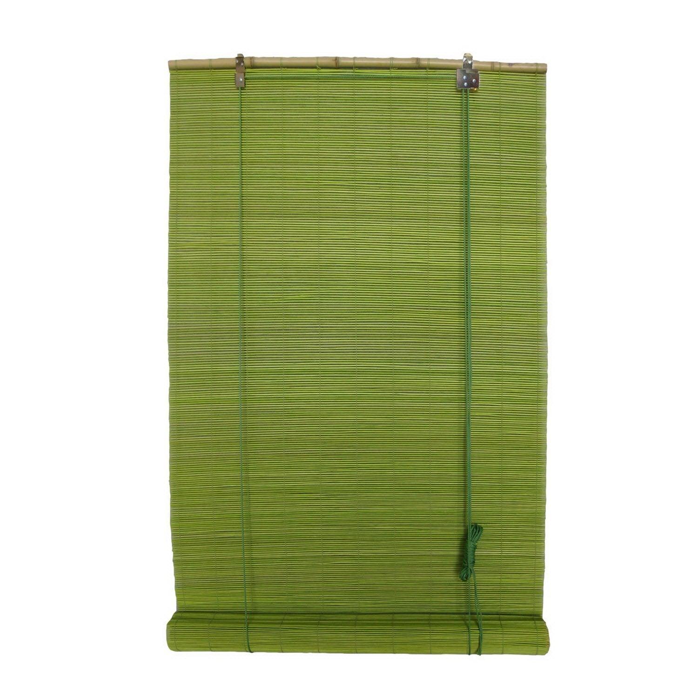 Store enrouleur tamisant vert anis 60 x 180 cm leroy for Store bambou exterieur leroy merlin