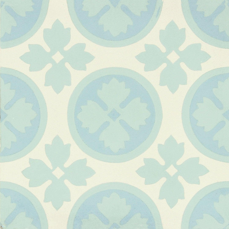 Carreau de ciment belle poque d cor alice bleu vert et blanc x c - Ciment blanc leroy merlin ...