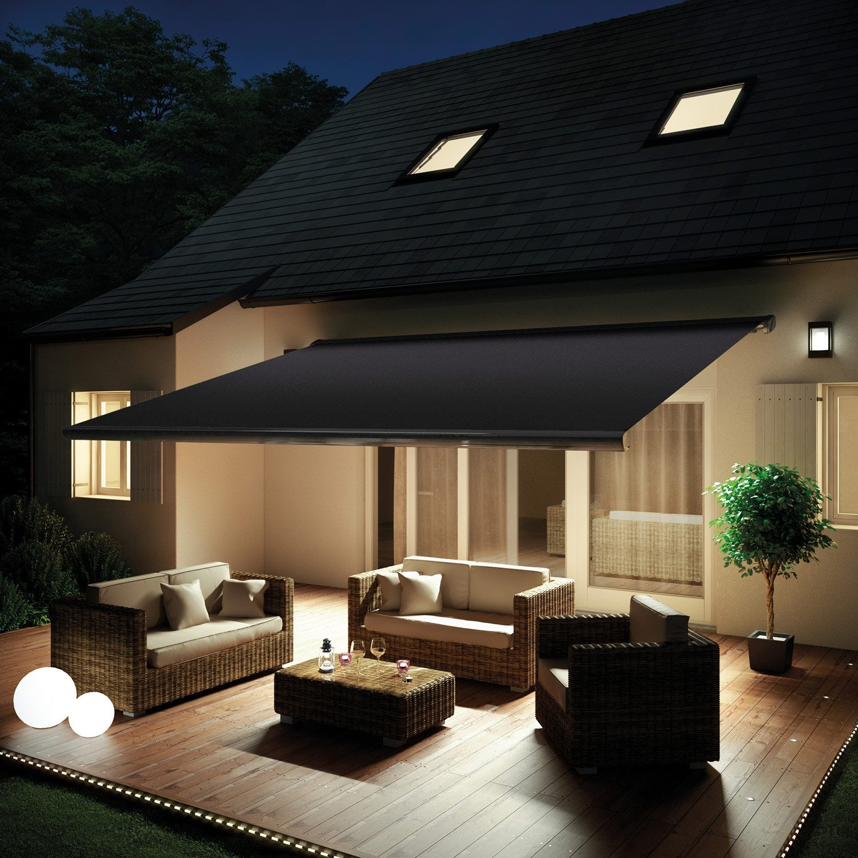 store banne 5x3 5 store banne coffre entier motoris et. Black Bedroom Furniture Sets. Home Design Ideas