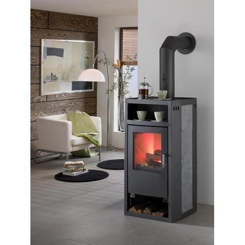 poele bois en st atite avec chauffage par rayonnement. Black Bedroom Furniture Sets. Home Design Ideas