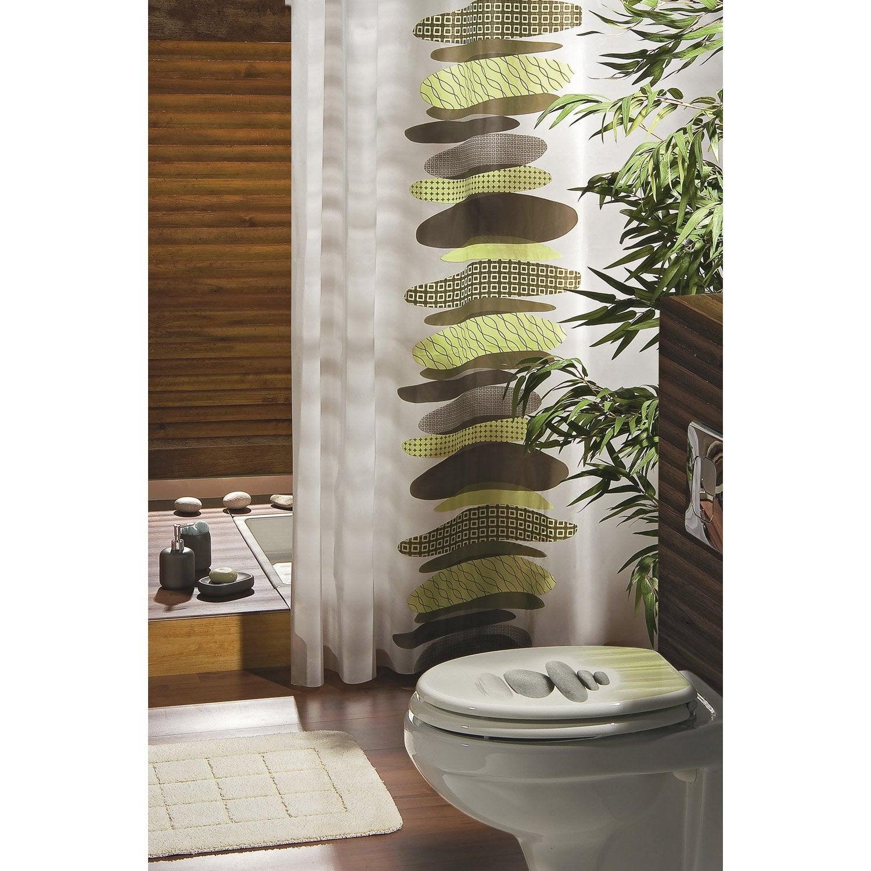 Rideau de douche en plastique x cm vert gaia - Rideau de douche pour baignoire ...