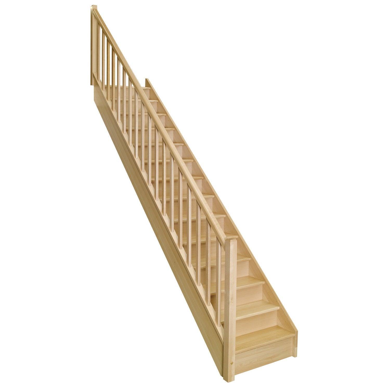 Escalier droit soft classic structure bois marche bois - Marche escalier leroy merlin ...