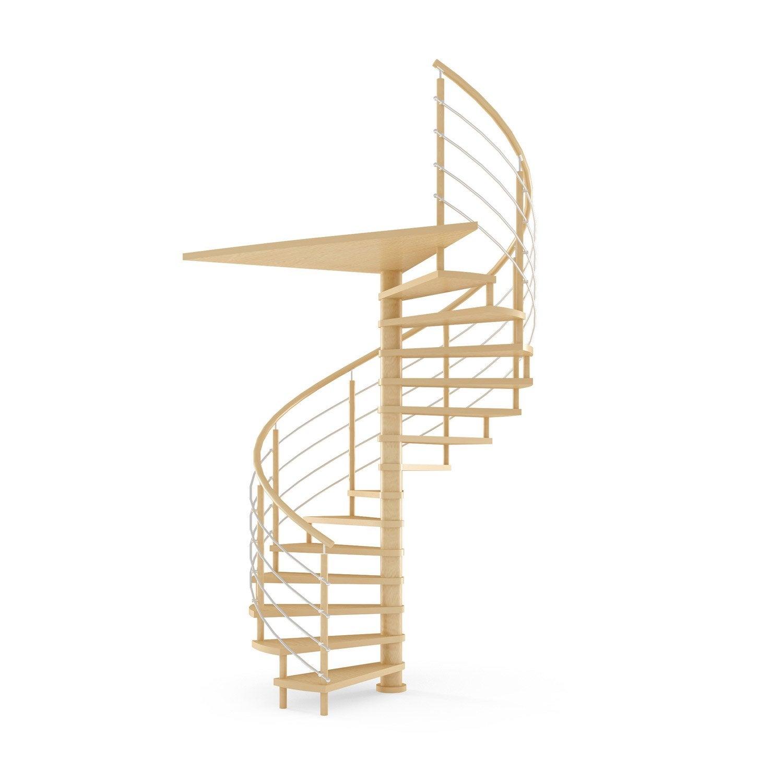 Escalier colima on rond structure bois marche bois leroy - Escalier colimacon leroy merlin ...