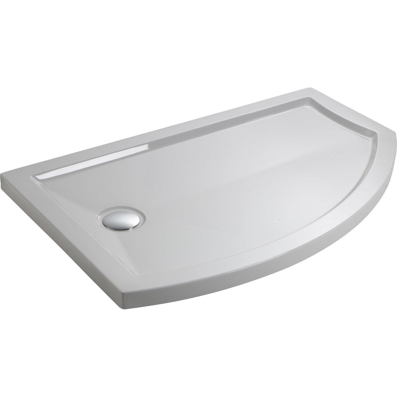 Receveur de douche asym trique 140 x 90 cm acrylique blanc look version gauc - Receveur de douche leroy merlin ...