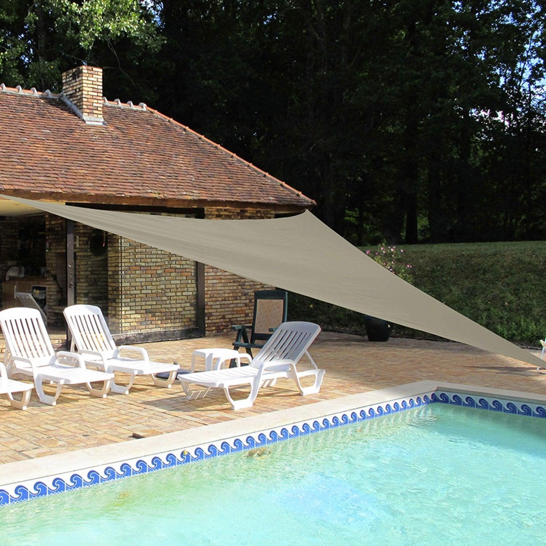 voile d 39 ombrage triangle taupe x cm leroy merlin. Black Bedroom Furniture Sets. Home Design Ideas
