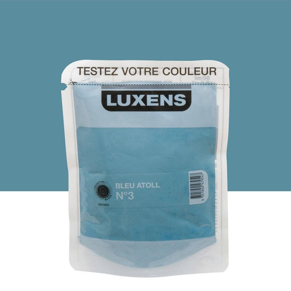 testeur peinture bleu atoll 3 luxens couleurs int rieures satin l leroy merlin. Black Bedroom Furniture Sets. Home Design Ideas