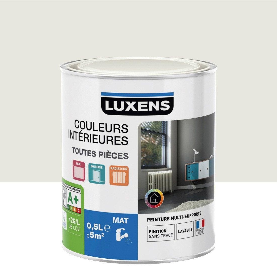 Peinture blanc calcaire 1 luxens couleurs int rieures mat 0 5 l leroy merlin for Peintures interieures leroy merlin