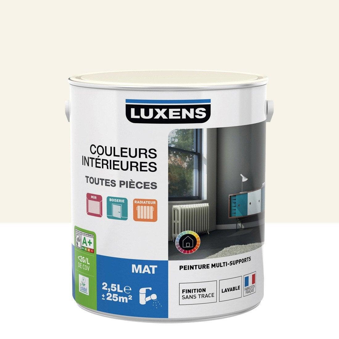 Peinture blanc lin 5 luxens couleurs int rieures mat 2 5 l leroy merlin - Leroy merlin peinture couleur ...