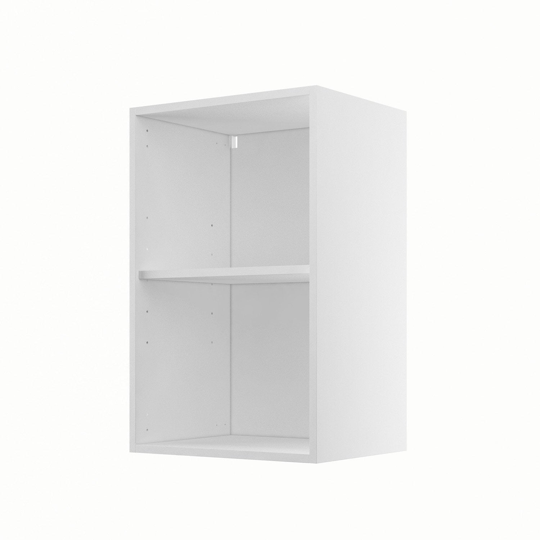 Caisson de cuisine haut h45 70 delinia blanc x x for Meuble bureau hauteur 80 cm