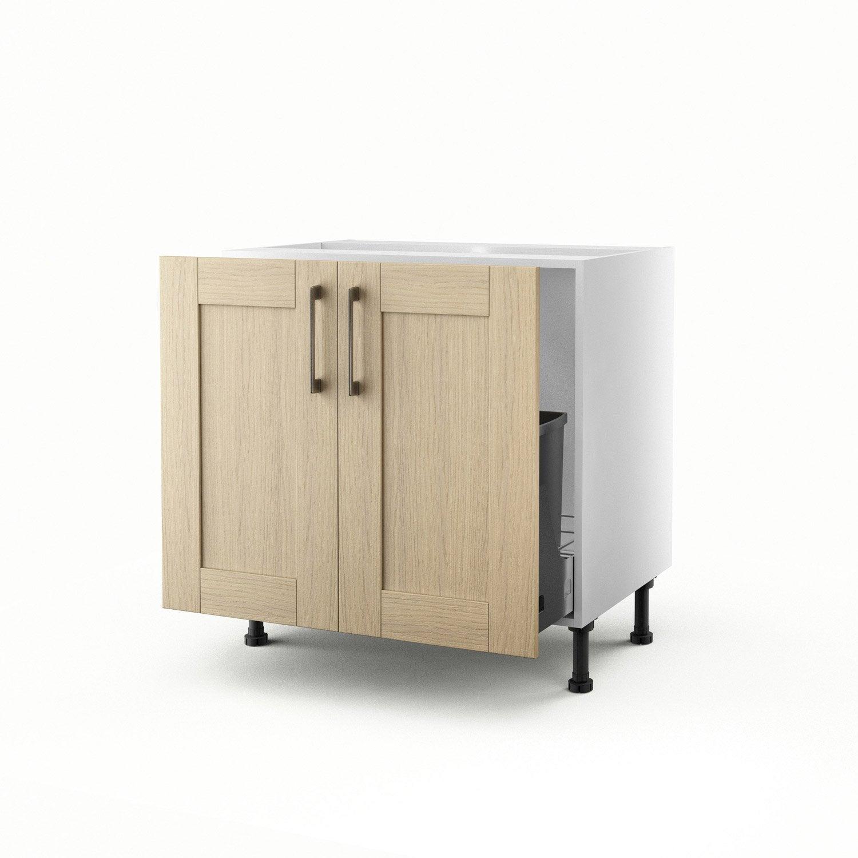 meuble de cuisine sous vier ch ne clair 2 portes cyclone. Black Bedroom Furniture Sets. Home Design Ideas
