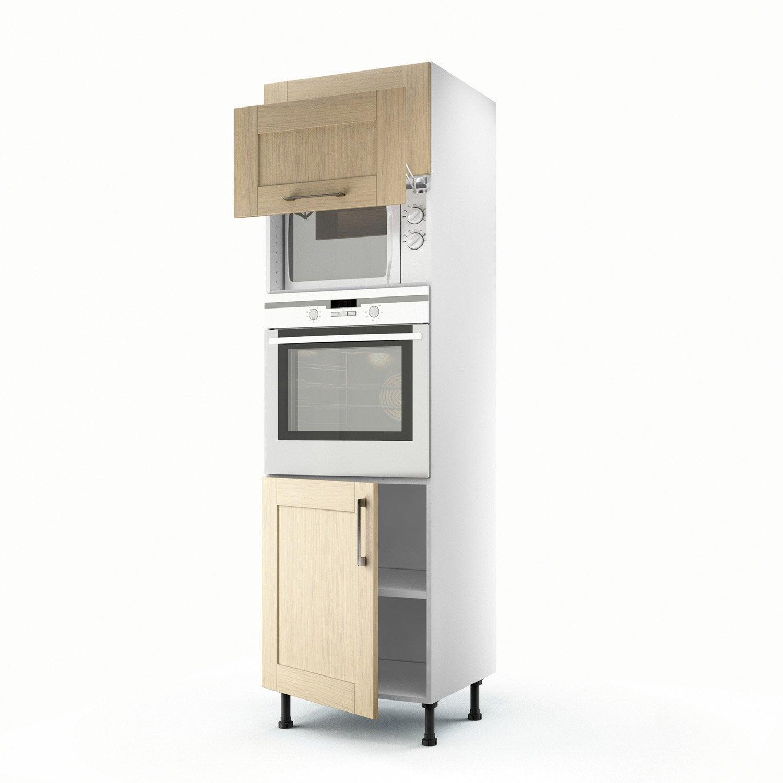 meuble de cuisine colonne ch ne clair 3 portes cyclone x x cm leroy merlin. Black Bedroom Furniture Sets. Home Design Ideas