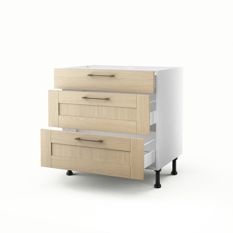 meuble de cuisine bas ch ne clair 3 tiroirs cyclone x x cm leroy merlin. Black Bedroom Furniture Sets. Home Design Ideas