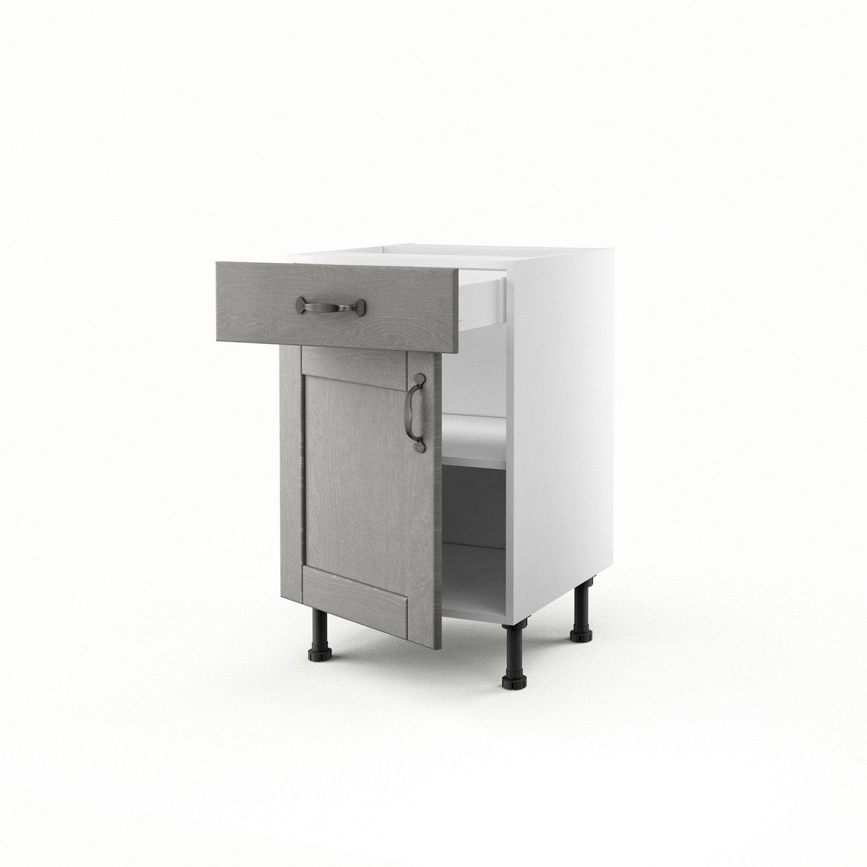 Meuble de cuisine bas gris 1 porte 1 tiroir nuage x for Meuble cuisine 50 x 70