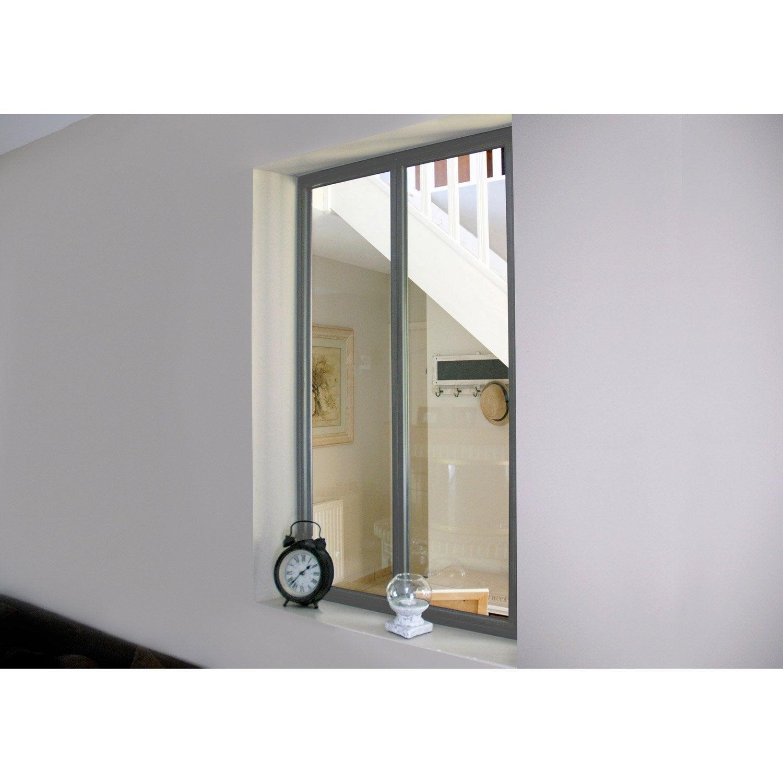 Verri re d 39 int rieur atelier en kit aluminium gris 2 for Verriere exterieure en kit