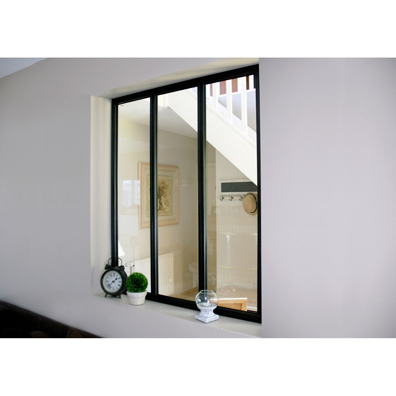 Verri re d 39 int rieur atelier en kit aluminium noir 3 for Verriere en bois interieur