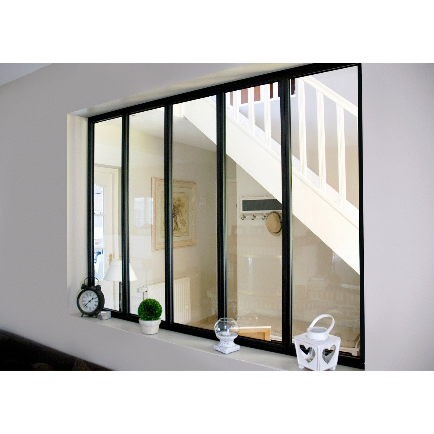 Verri re d 39 int rieur atelier en kit aluminium noir 5 vitrages h x l m leroy merlin for Verriere d interieur
