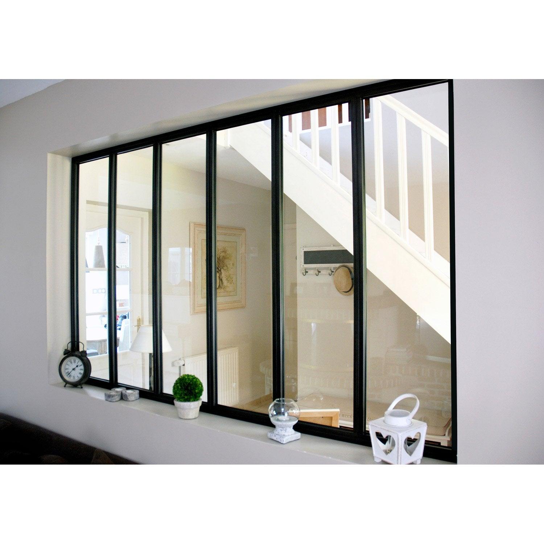 Verri re d 39 int rieur atelier en kit aluminium noir 6 vitrages h x l m leroy merlin - Verriere d interieur ...