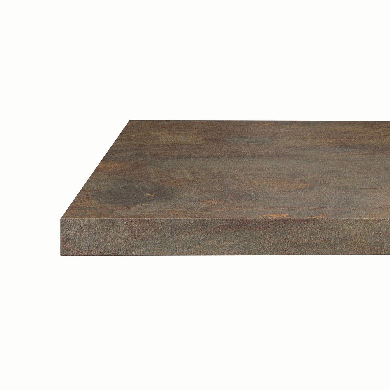 cool plan snack stratifi effet cuivre mat l x p cm ep mm leroy merlin with plan de travail. Black Bedroom Furniture Sets. Home Design Ideas