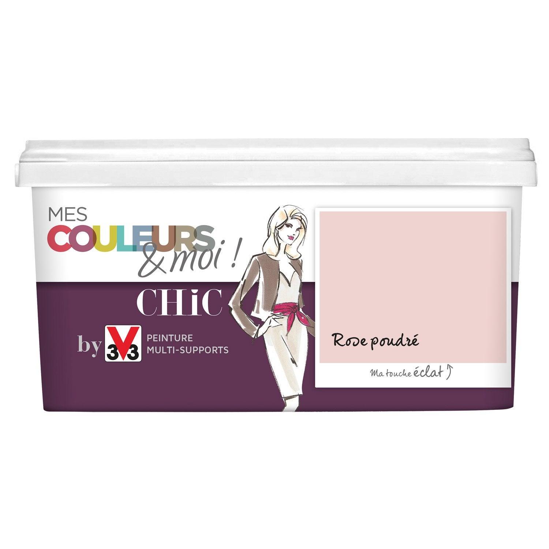Peinture rose poudre v33 chic 2 5 l leroy merlin - Couleur peinture rose poudre ...