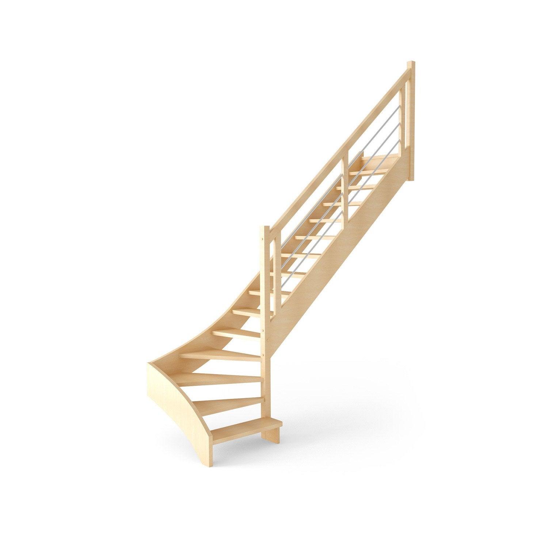 escalier droit fouesnant structure bois marche bois leroy merlin. Black Bedroom Furniture Sets. Home Design Ideas