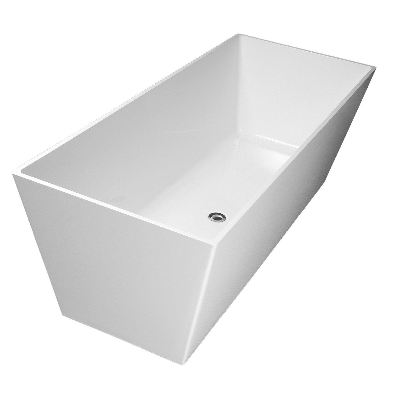 Baignoire lot rectangulaire cm blanc mat carmel leroy merlin - Colonnette baignoire leroy merlin ...