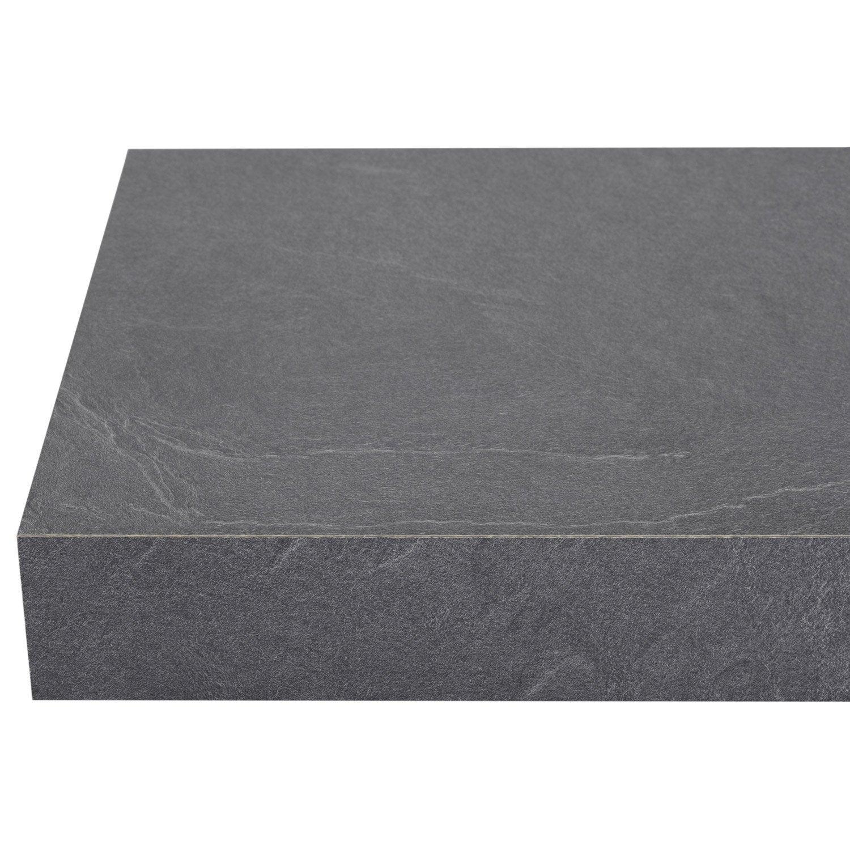 chant de plan de travail stratifi luna noir mat l 6 4 cm ep 0 6 mm leroy merlin. Black Bedroom Furniture Sets. Home Design Ideas