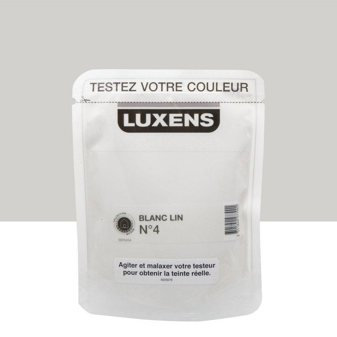 testeur peinture blanc lin 4 luxens couleurs int rieures satin l leroy merlin. Black Bedroom Furniture Sets. Home Design Ideas