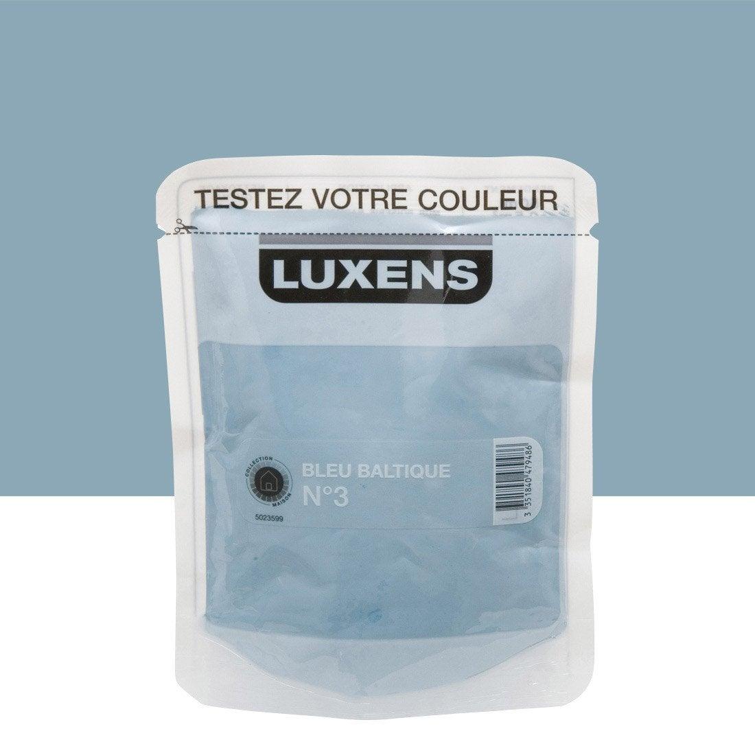Testeur peinture bleu baltique 3 luxens couleurs for Peinture bleu marine leroy merlin