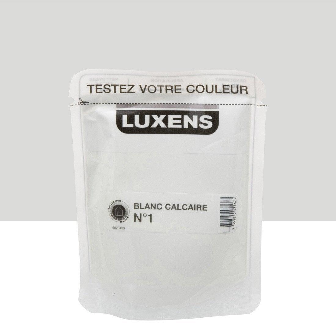 Testeur peinture blanc calcaire 1 luxens couleurs - Peinture luxens blanc satin ...