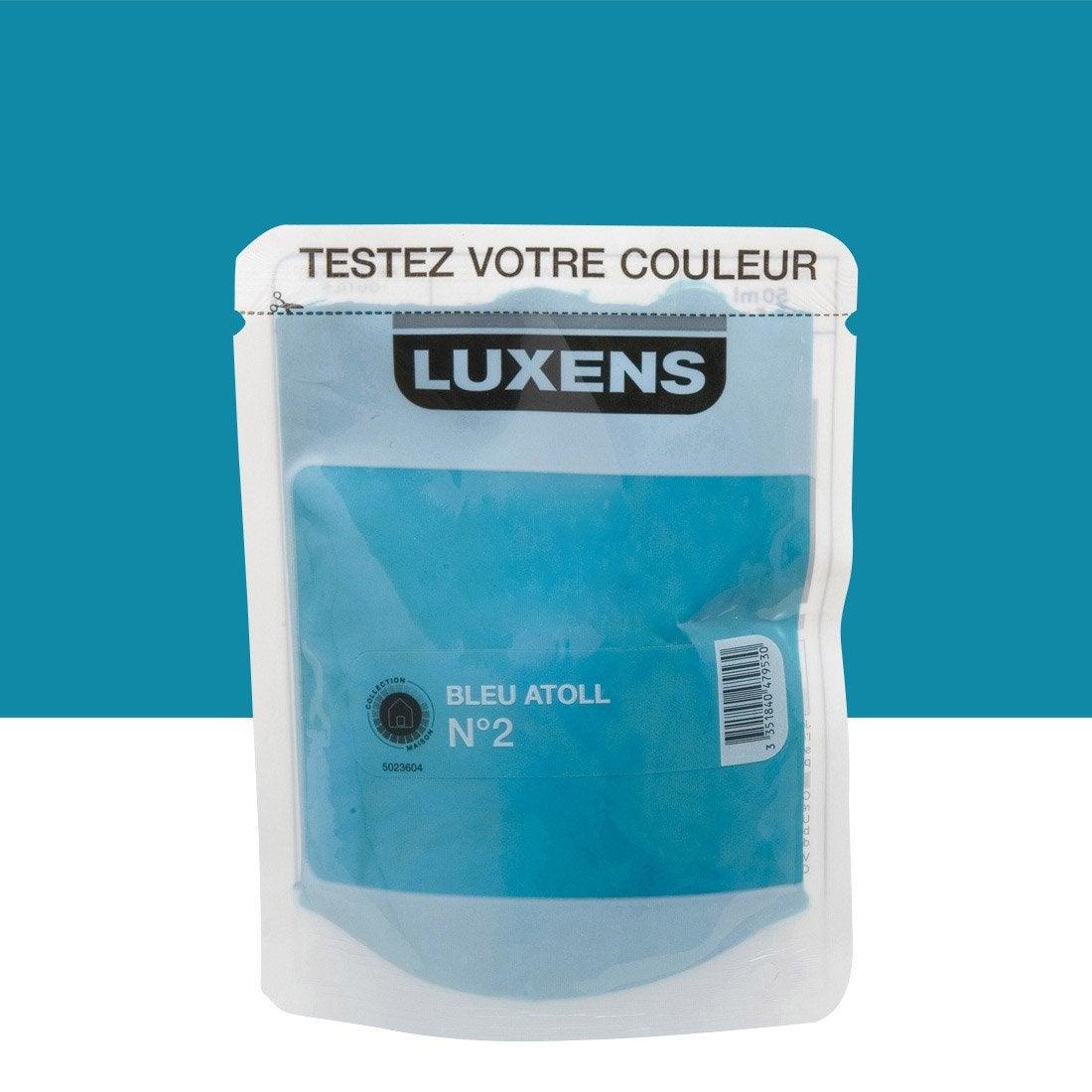 Testeur peinture bleu atoll 2 luxens couleurs int rieures - Peinture chambre leroy merlin ...