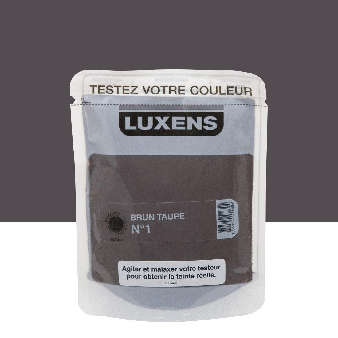 testeur peinture brun taupe 1 luxens couleurs int rieures satin l leroy merlin. Black Bedroom Furniture Sets. Home Design Ideas