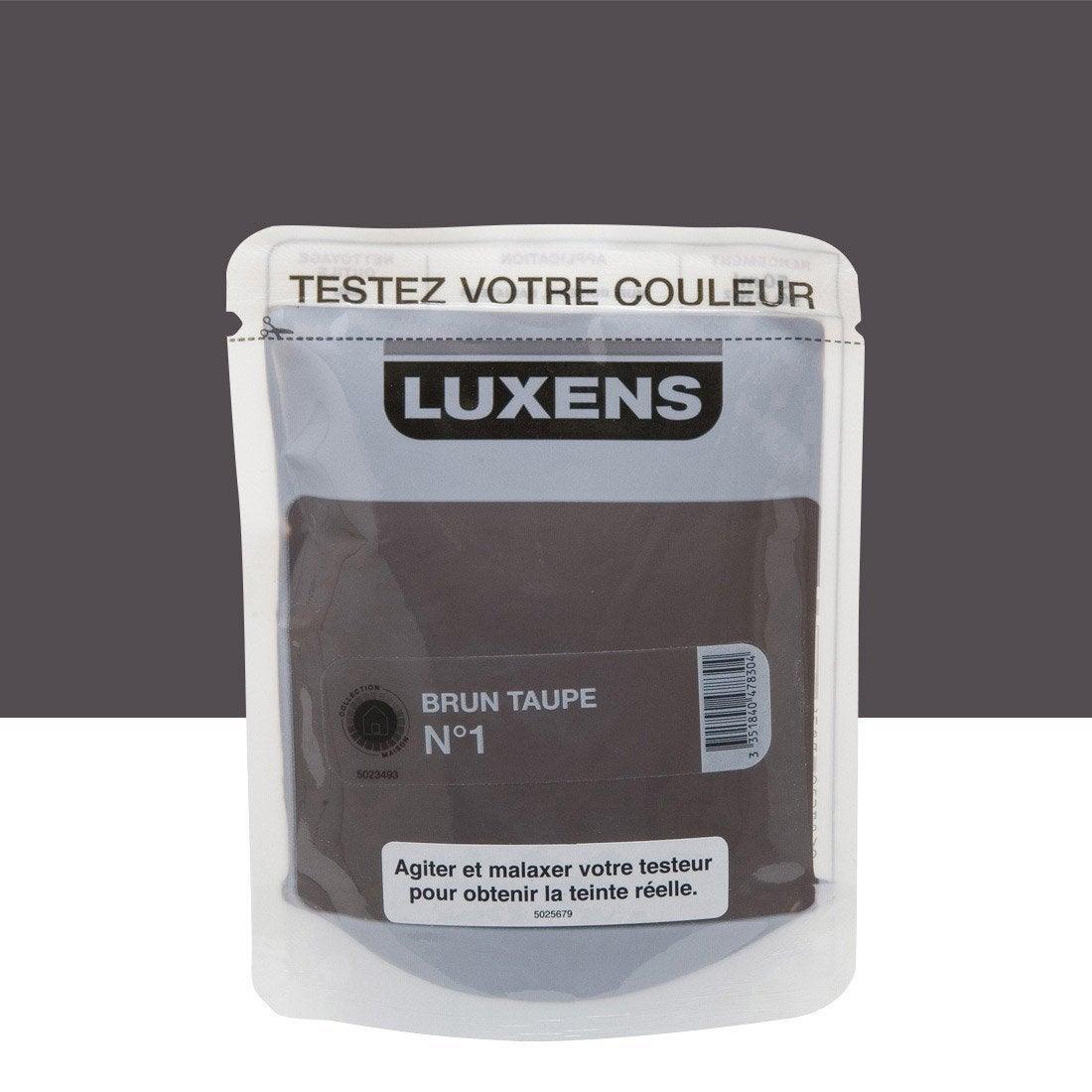 Testeur peinture couleurs int rieures satin luxens brun taupe n 1 l leroy merlin for Peinture brun taupe