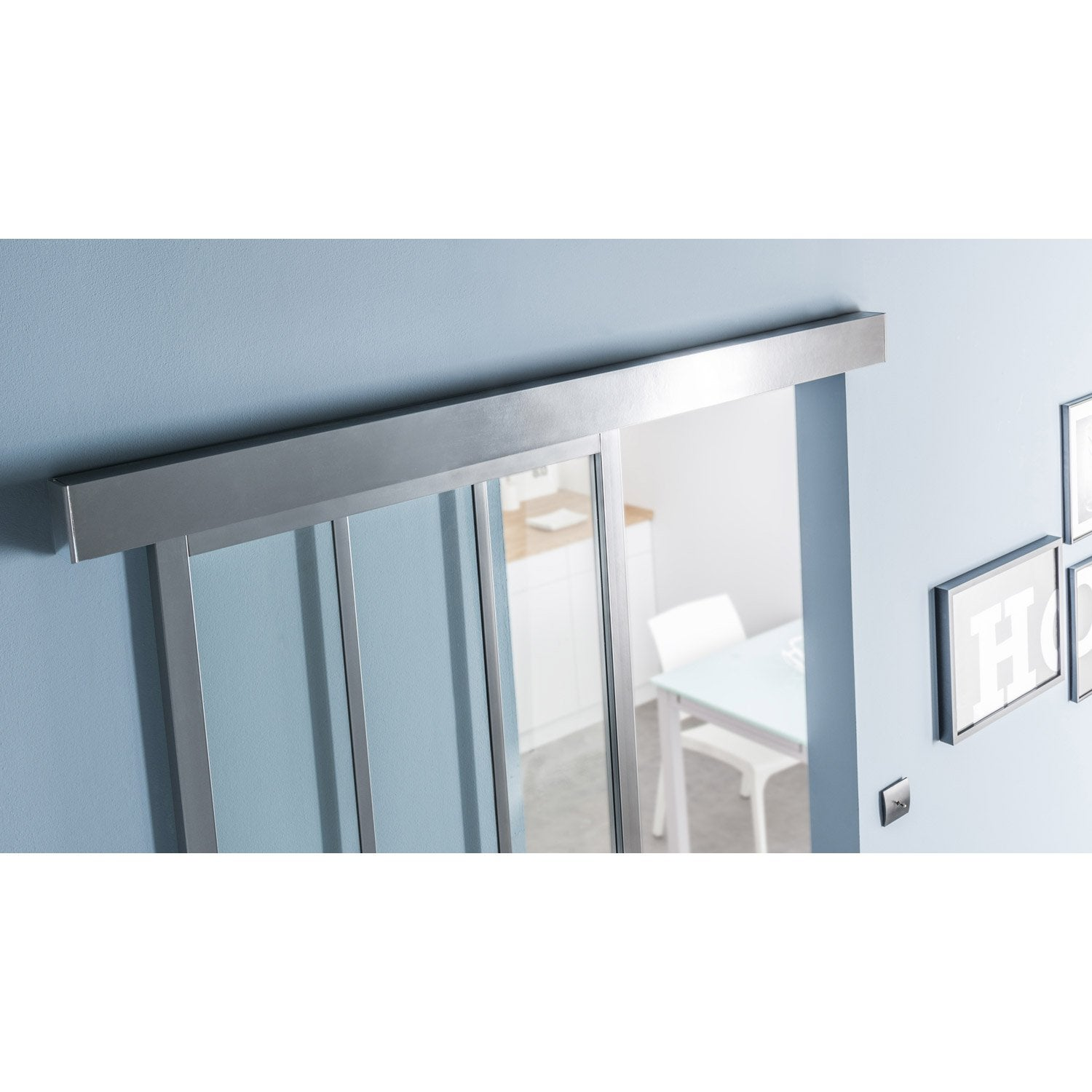 Rail coulissant habillage swing 2 cache gris fonc - Habillage porte interieur leroy merlin ...