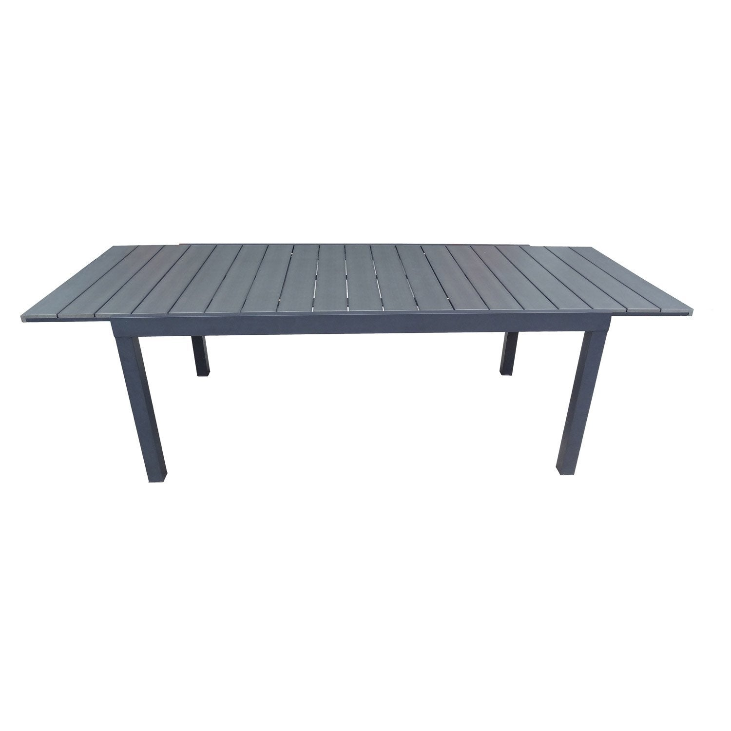 Table de jardin naterial pratt rectangulaire gris leroy for Table extensible leroy merlin